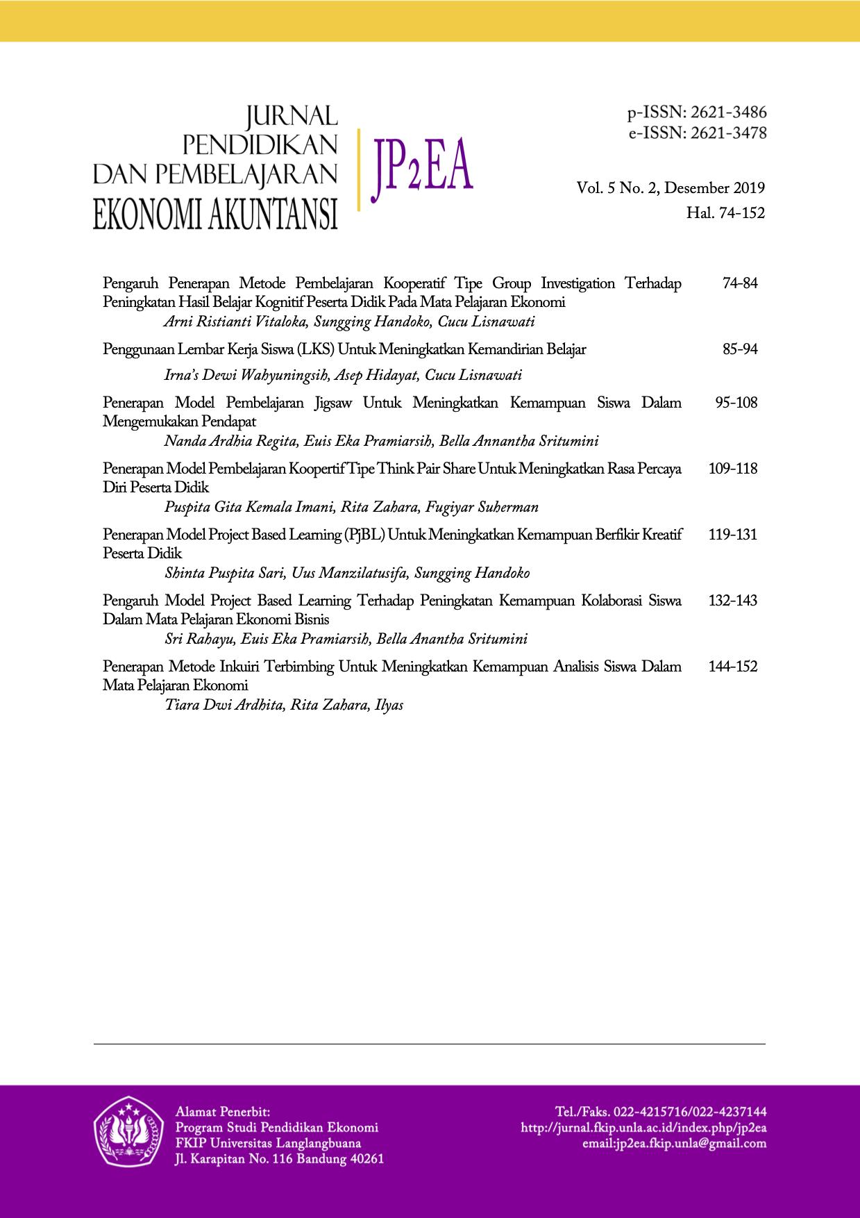 JP2EA | Jurnal Pendidikan dan Pembelajaran Ekonomi Akuntansi